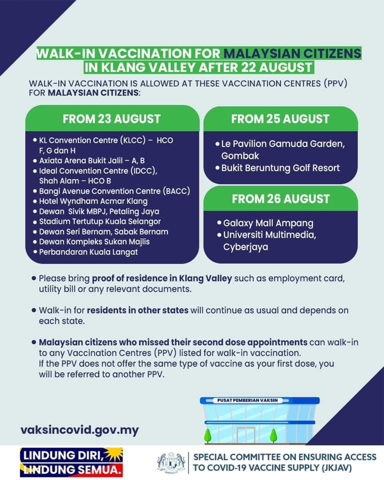 Klang Valley Walk In Vaccination from 22 Aug 2021